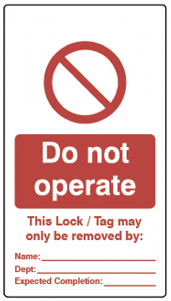Double Sided Lockout Tagout Tags `Do Not Operate`